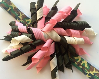 Girls Camo Headband - Korker Hair Bow Headband for Toddler - Headband for Girls - Camoflauge Headband Photo Prop for Baby Girl - Korker Bow