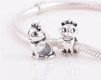 Sterling Silver Charm kitten   charm for european bracelet