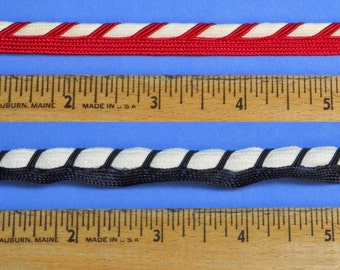 Beautiful Twisted-Color Piping By The Yard: Red/White or Blue/White