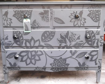 SOLDEdwardian chest of four drawers reworked in black on black floral graphic