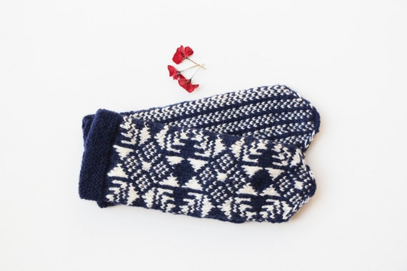 Skandinavische muster blau  Skandinavische Muster Handschuhe blau weiße Wolle Handschuhe