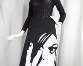RESERVED vintage 80s graphic womans face black denim skirt/ zippered side slits/deadstock: US size 12
