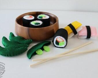 Felt Food Felt Sushi Play Food 10 Piece Pretend Food Play Set