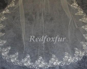 Wedding Veil, Bridal Veil, cathedral veil, Alencon Lace veil 3 meters veil, white veil, ivory veil, - lace veil - landed veil - New veil