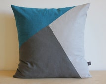 Modern Color Block Pillow in a selection of colors, Ocean Blue Charcoal Gray and Shadow Gray by AylaGrayDesigns | Colorblock Pillows