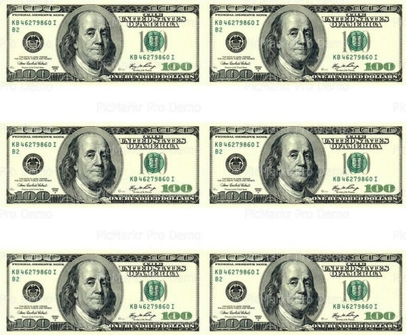 100 Dollar Bill - Designer Strips - Edible Cake Side Toppers- Decorate The Sides of Your Cake! - D20003