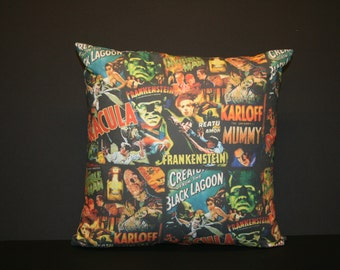 Classic Horror Movie Monsters Pillow