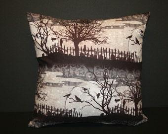 Cemetery Scene Pillow