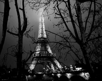 SALE! The Eiffel Tower on a cold and foggy January night <3