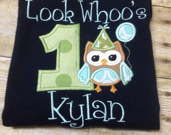 Look Whoo's One Owl Birthday Applique design for boys or in different colors for Girls!