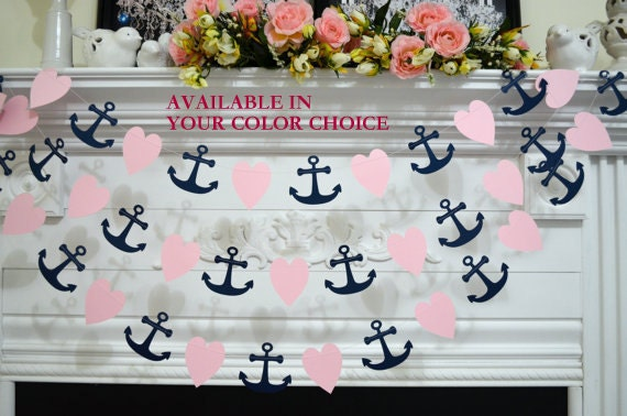 Paper Heart and Anchor garland, wedding decorations, nautical anchor garland, navy blush pink bridal shower decor, beach wedding decor