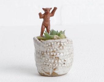 Vintage Brown Plastic Tiny Bear for Terrarium Figurine Accessories