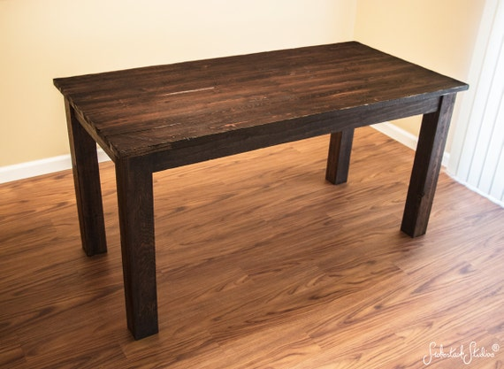 rustic wood dining table dark espresso stain pine wood kitchen