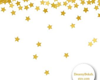 gold foil digital paper confetti stars hearts circles 12x12