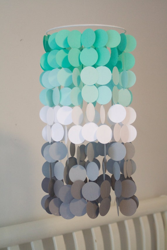 Seafoam white and gray ombre paper crib mobile modern for Room decor out of paper