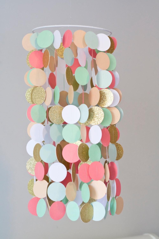 Coral Peach Mint And Gold Crib Mobile Modern Circle