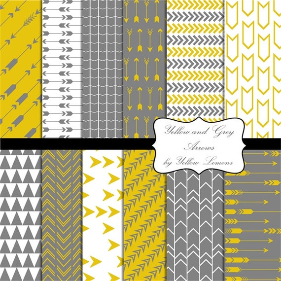 Yellow And Grey Digital Papers Quot Yellow Amp Grey Arrows