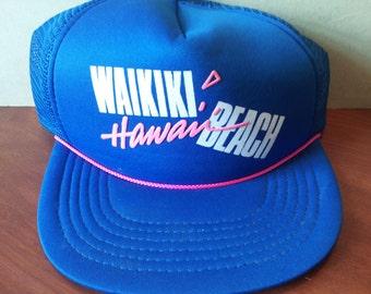 Vintage Waikiki Beach Hawaii Trucker Hat