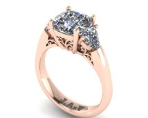 Moissanite Engagement Ring 14K Rose Gold Cushion Cut Moissanite Center and Two Trillion Side-Stones Custom Jewelry Gifts For Her Gems- V1107