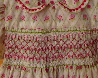 Smocked dress, cute rose pattern, white, green and pink hand smocking. NEW, Hand made