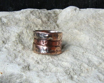 Men Rustic copper ring and silver fused - Mixed metal Jewelry by Emilia-m