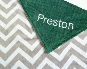 Personalized Baby Blanket or Lovey -  Baby Girl or Boy Stroller blanket - Custom Made - You Choose Minky Color - Light Gray Chevron, Green