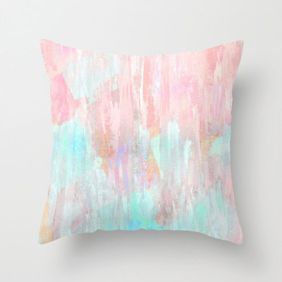 Pastel Throw Pillow Cover Abstract Modern Print Pink