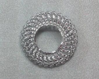 Vintage BSK Round Wreath Cut Silver Tone Brooch Pin
