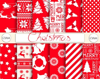 Red White Christmas Digital Paper: Instant Download. Snowflake, Sweater, Reindeer, Santa Claus, Candy Cane Pattern