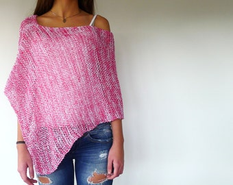 Pink loose knit poncho. Cotton summer poncho. Beach cover up tunic. Womens knitted poncho. Gift idea for her
