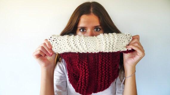 Bufanda reversible. Bufandas de lana hechas a mano. Cuellos de lana para mujer.