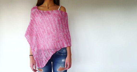 Knitting Pattern For Summer Poncho : Pink loose knit poncho. Cotton summer poncho. Beach cover up