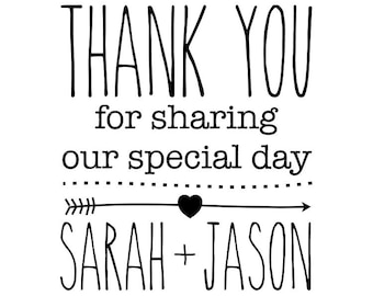 Thank You Special Day Stamp, personalised wedding stamp, wedding favours stamp, sharing special day, wedding meal decorations, (cts47)