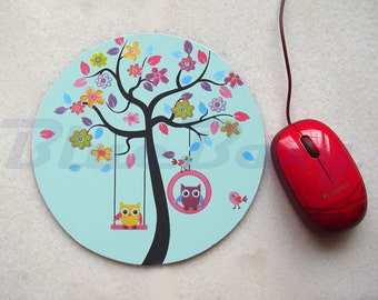 Little Owls on Tree Mousepad, Office Mousepad, Computer Mouse Pad