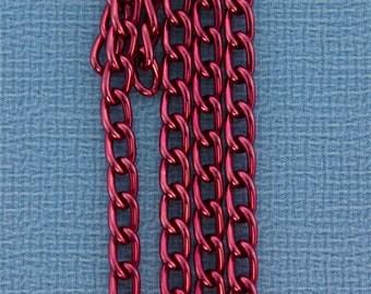 Aluminum Curb Chain Red 6 x 3.6mm Wide 5 Feet Long (800AL-063RD)