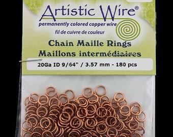 "Artistic Wire Natural Copper Jump Ring 3.5mm ID (9/64"") 20ga (pkg/180)  (900AWN-14)"