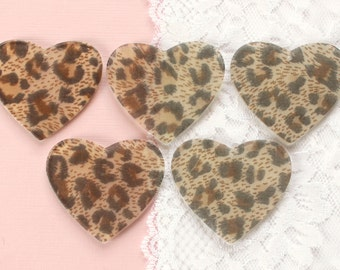 5 Pcs Huge Cheetah Print Heart Charm Cabochons - 50x45mm Pre-Drilled