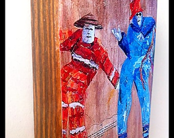 """Carnival Mardi Gras Trinidad Art Print """" Mojo Jumbies"""" Caribbean parade Art print from painting mounted on stained wood"""