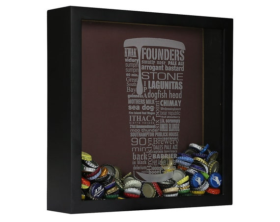Bottle Cap Shadow Box - This is kind of like the map, but for the dude that drinks waaaaay more than 50 beers ever. It's ok, you know which gift is appropriate...