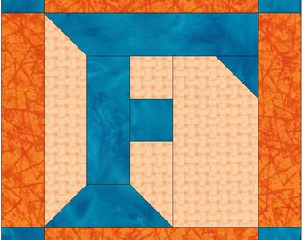 Letter F Paper Piece Foundation Quilting Block Pattern