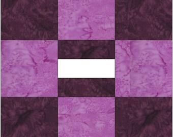 9 Patch Album Paper Piece Foundation Quilting Block Pattern