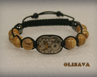"Mens  Steampunk bracelet  of   Picasso Jasper  Beads and old watch movement 1/2 x 3/4 "",  bracelet Shamballa"