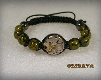 Mens  Steampunk bracelet of   Dragon Veins Agate Beads and vintage watch movement , bracelet Shamballa