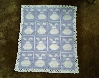 Baby Bunny Blanket / Easter Blanket / Baby Bunny Afghan / Baby Bunny Lapghan / Baby Bunny Throw