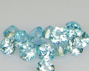 5 mm or 6 mm (5 pcs each) Natural genuine Sky BLUE TOPAZ Round top cut faceted gemstone.....
