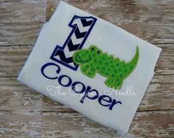 Personalized Alligator First Birthday Shirt: Navy