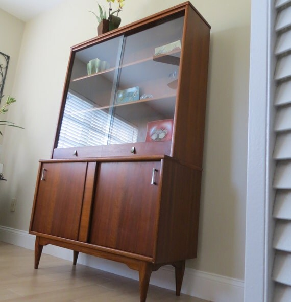 Reserved Vintage Mid Century Modern Walnut China Cabinet