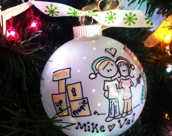 Our First APARTMENT Christmas PERSONALIZED Ornament with DETAILED Background