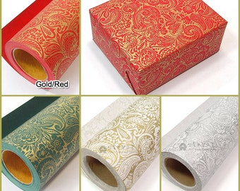 "13M 1Roll  Gold or Silver foil High Quality wrapping paper for Gift Wrap  and Handmade Craft  : Paisley   20.5""X14.2 yd (53 cm X 13 M)"