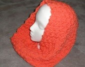 Warm Hand Knit Cowl, Coral Color, Winter Accessiories, Stocking Stuffers